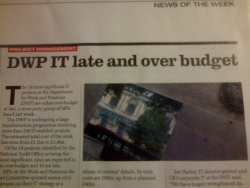 DWP headline late and over budget