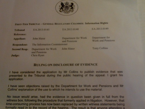 FOI tribunal grants request to publish DWP's written submission